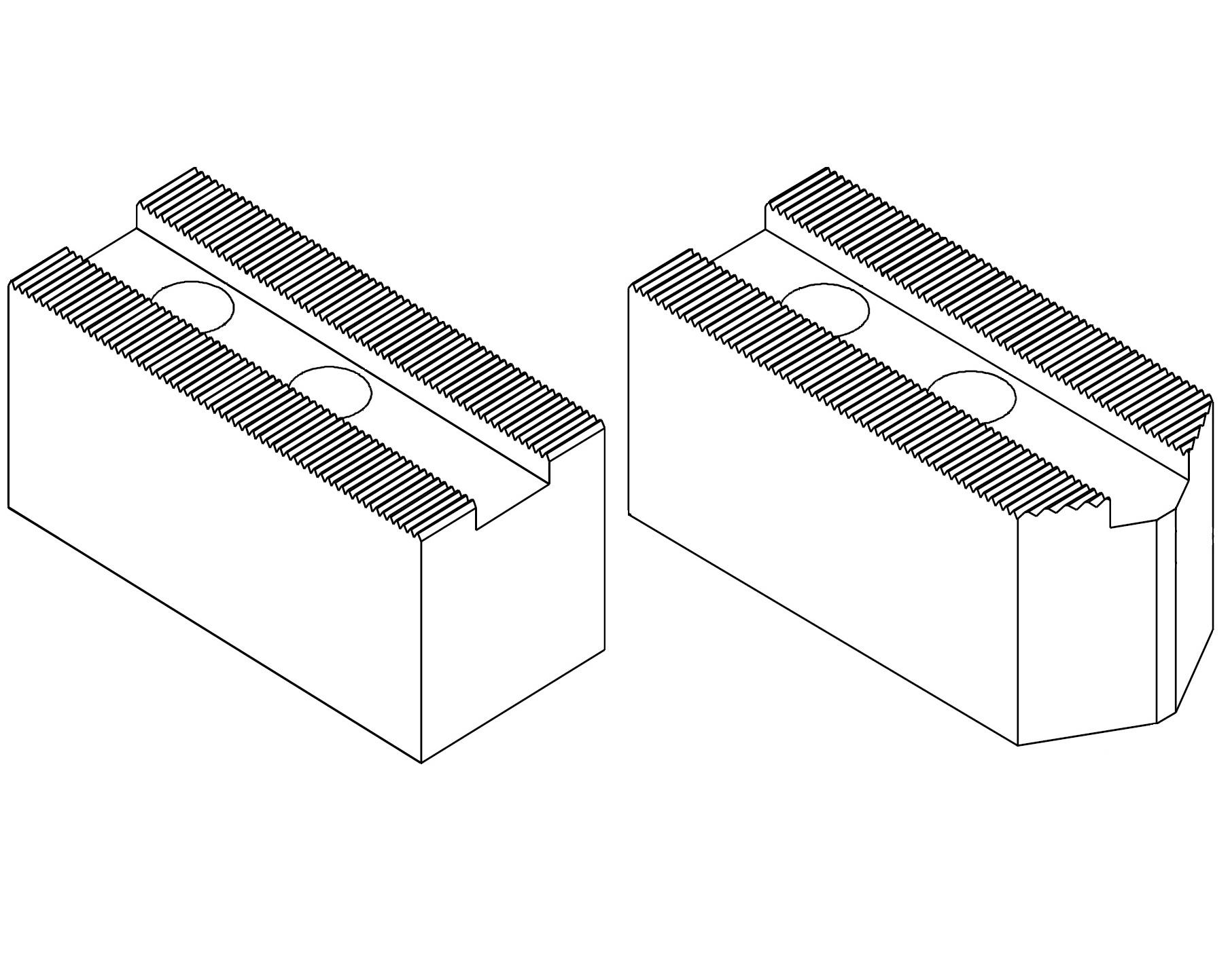 Čelisti měkké 3x60°, šířka drážky - 14 mm