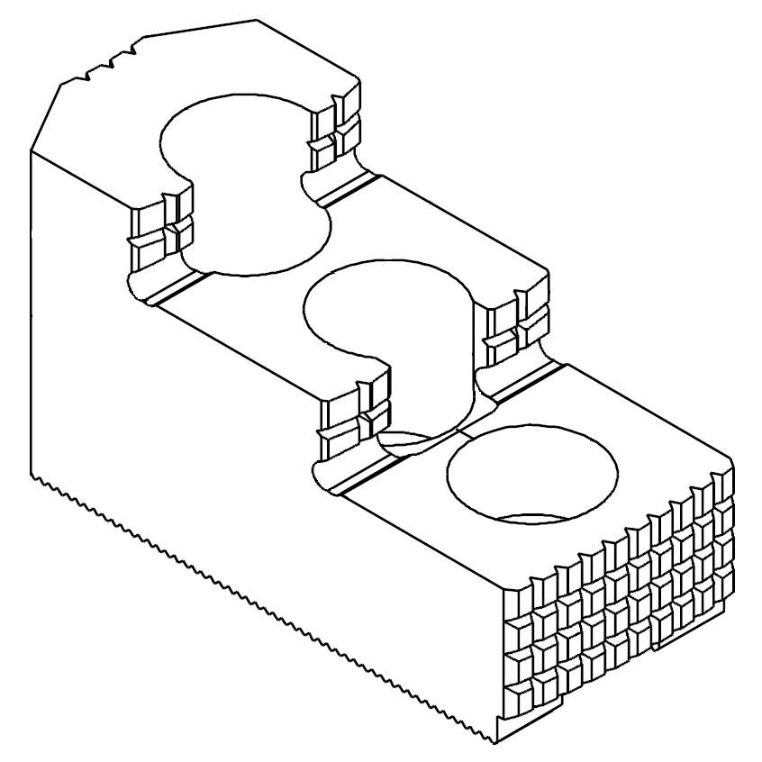 """Čelisti tvrdé horní odstupňované 1/16""""x90°, šířka drážky - 17 mm"""