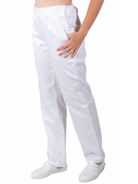 0476 kalhoty BÍLÉ - boční zapínání & pruženka