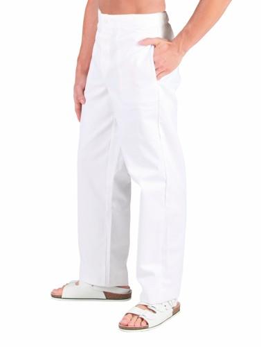 0460 kalhoty BÍLÉ - přední zapínání