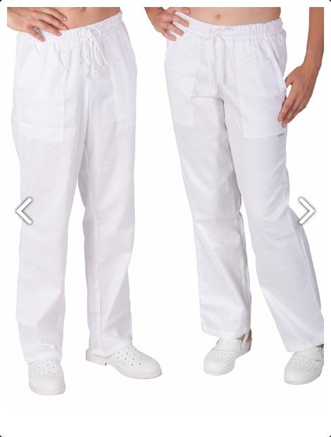 TRADETEX 2506 kalhoty BÍLÉ - pruženka & tkanice