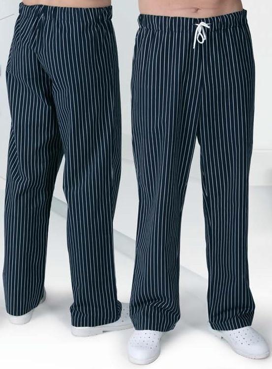TRADETEX 2506 kalhoty černobílý proužek - pruženka & tkanice