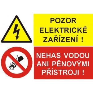 Pozor! Elektrické zařízení/Nehas vodou ani pěnovými přístroji