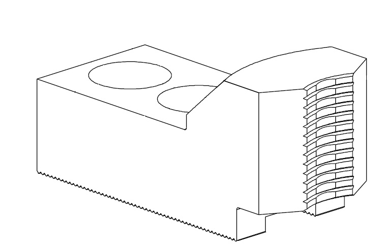 Čelisti tvrdé průběžné 1,5x60°, šířka drážky - 16 mm (sklíčidla pr. 254 mm)