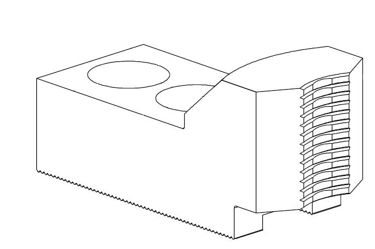 Čelisti tvrdé průběžné 1,5x60°, šířka drážky - 22 mm (sklíčidla pr. 380 -450 mm)