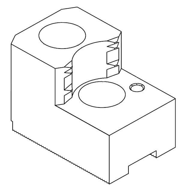 """Čelisti tvrdé zakusovací pro upínání za vnější povrch materiálu, 1/16""""x90° - šířka drážky 12 mm"""
