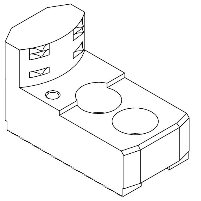"""Čelisti tvrdé zakusovací pro upínání za vnitřní povrch materiálu, 1/16""""x90° - šířka drážky 12 mm"""