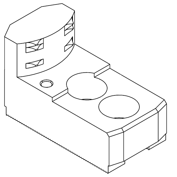 """Čelisti tvrdé zakusovací pro upínání za vnitřní povrch materiálu, 1/16""""x90° - šířka drážky 21 mm"""