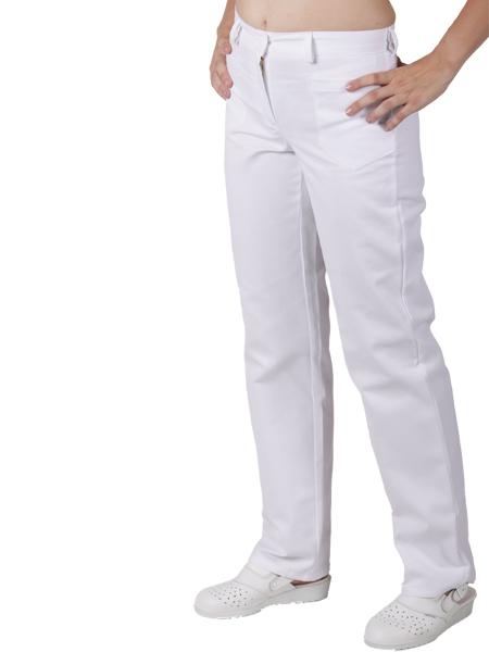 0487 kalhoty BÍLÉ - přední zapínání