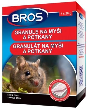 Rodenticid BROS granule na myši a potkany 7x20g