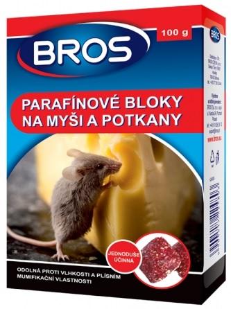 Rodenticid BROS parafínové bloky na myši a potkany 100g