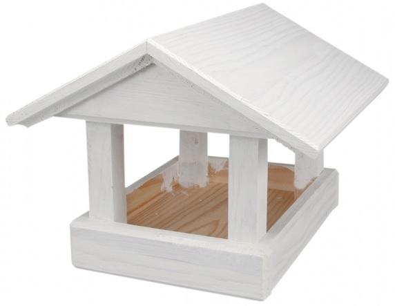 Krmítko dřevěné bílé 24x30x20 cm