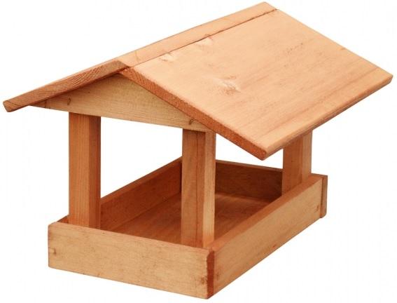 Krmítko dřevěné hnědé 24x30x20 cm