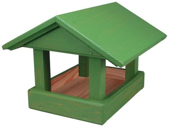 Krmítko dřevěné zelené 24x30x20 cm