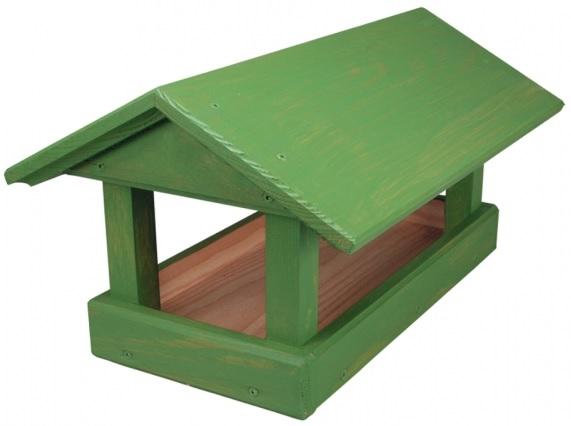 Krmítko dřevěné zelené 24x40x20 cm