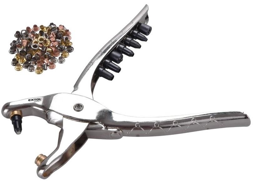 Extol Craft Kleště děrovací-drukovací sada se 100ks oček 2,5-5mm