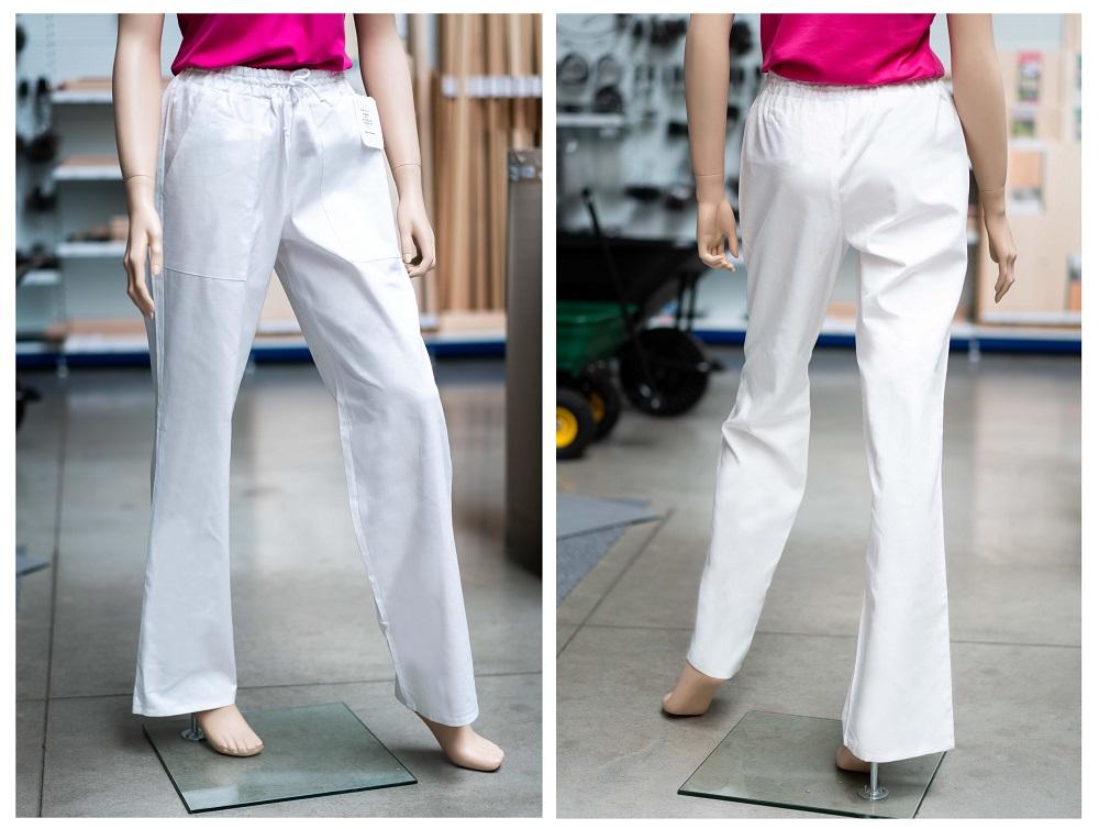 Volnočasové kalhoty pruženka/tkanice - bílé