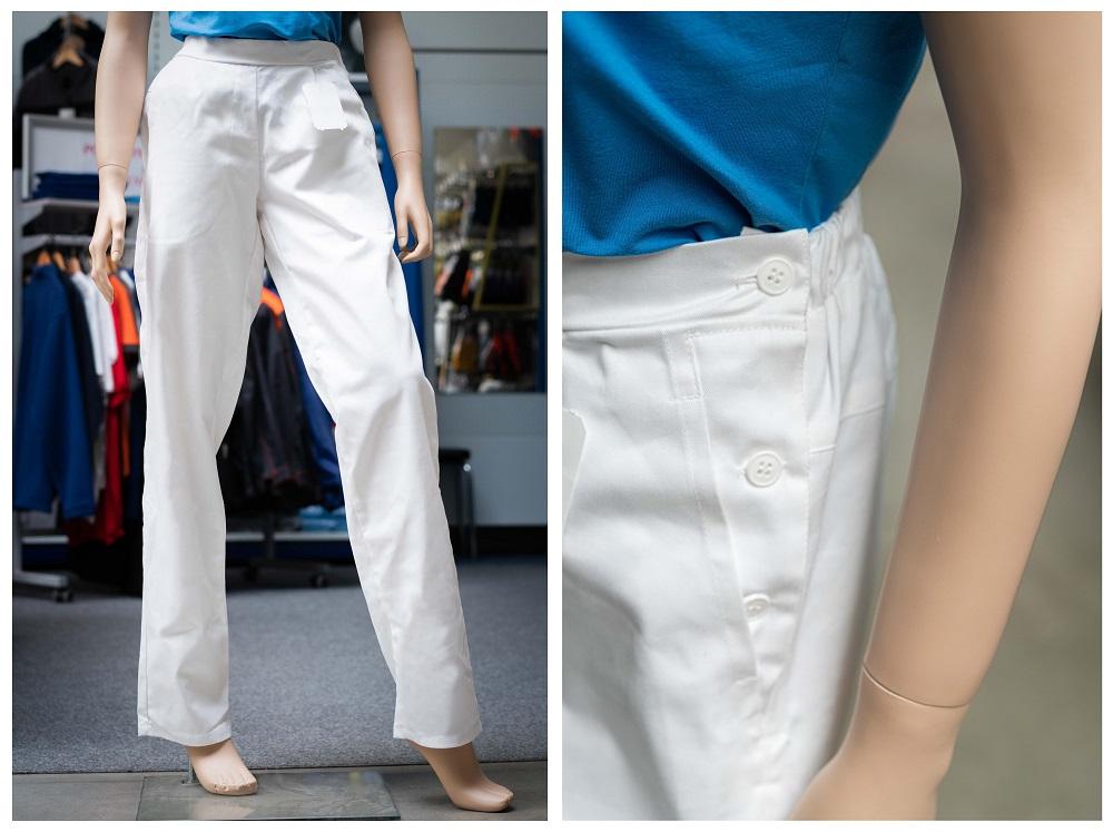 Volnočasové kalhoty boční zapínání - bílé