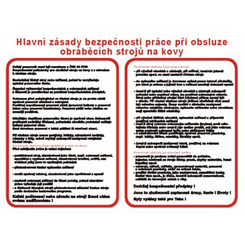 Hlavní zásady bezpeč.práce při obsluze obrábě.strojů na kovy