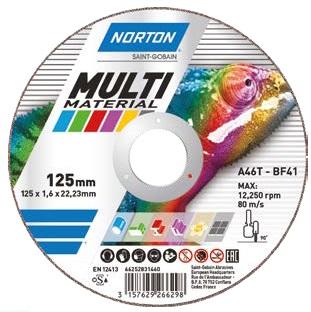 Kotouč řezný 125 x 1.0 / 22.2; Multimaterial; rovný T41, C60T, NORTON