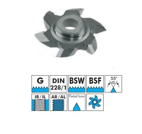 VBD pro frézování vnitřního a vnějšího závitu - G (DIN228/1), BSW, BSF částečný závit