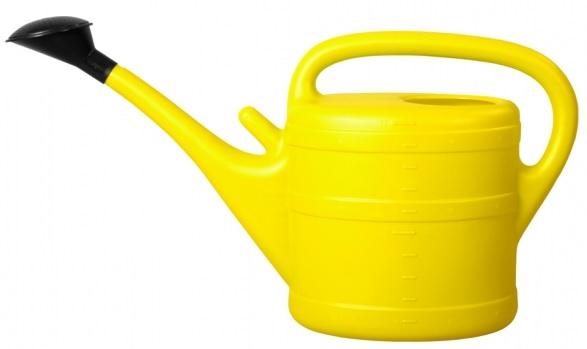 Konev s růžicí plastová žlutá 10l