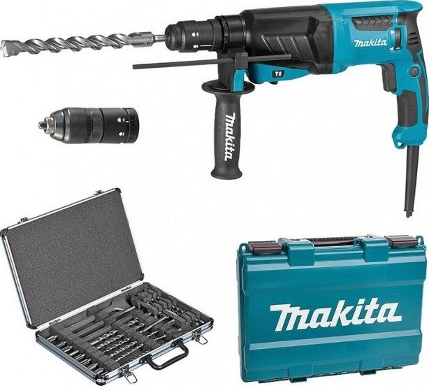 Makita HR2630TX12 Kombinované kladivo 800W, 2,4J, výměnná hlava + sada vrtáků a sekáčů