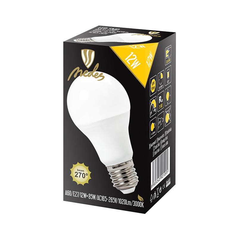 NEDES ZLS513 LED žárovka 12W - A60 E27 SMD 3000K