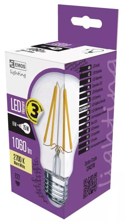 EMOS Z74270 LED žárovka Filament A60 A++ 8W E27