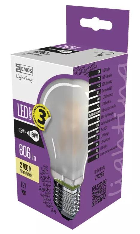 EMOS Z74265 LED žárovka Filament 6,5W - A60 matná A++  E27
