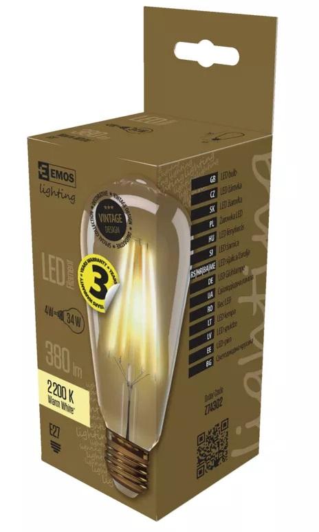 EMOS Z74302 LED žárovka Vintage ST64 4W E27