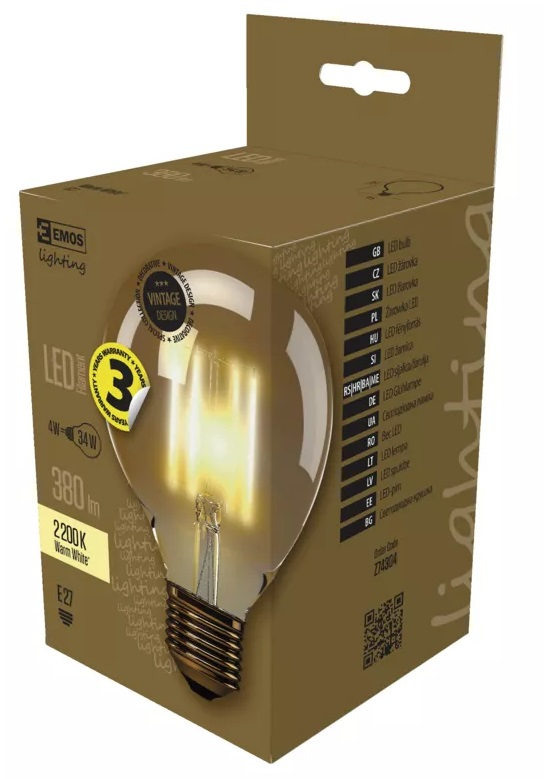 EMOS Z74304 LED žárovka Vintage G95 4W E27