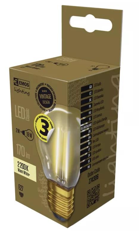 EMOS Z74306 LED žárovka Vintage Mini Globe 2W - E27