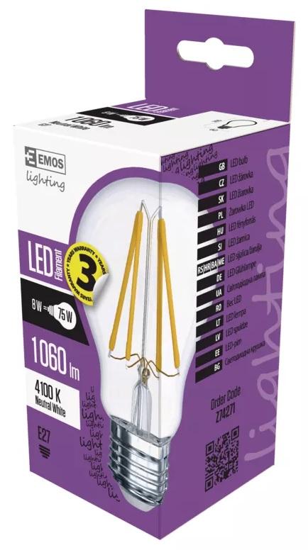 EMOS Z74271 LED žárovka Filament A60 A++ 8W E27