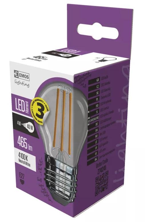 EMOS Z74241 LED žárovka Filament Mini Globe A++ 4W E27