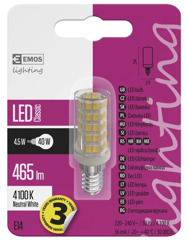EMOS ZQ9141 LED žárovka Classic JC A++ 4,5W E14