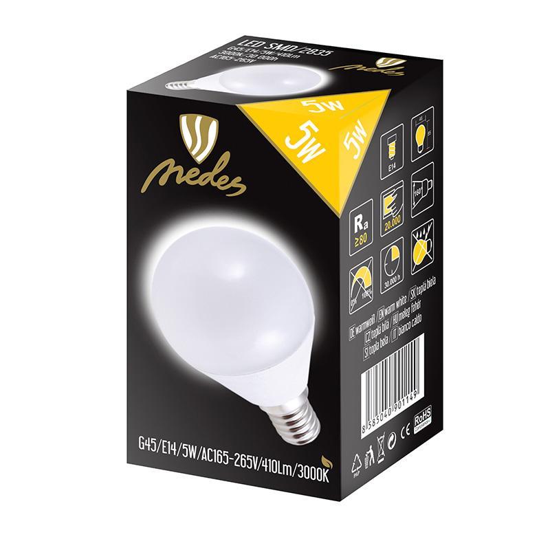 NEDES ZLS812 LED žárovka 5W - G45 E14 SMD 3000K
