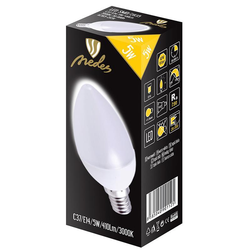 NEDES ZLS712 LED žárovka 5W - C37 E14 SMD 3000K