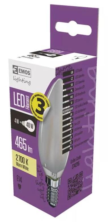 EMOS Z74215 LED žárovka Filament Candle 4W - matná A++  E14