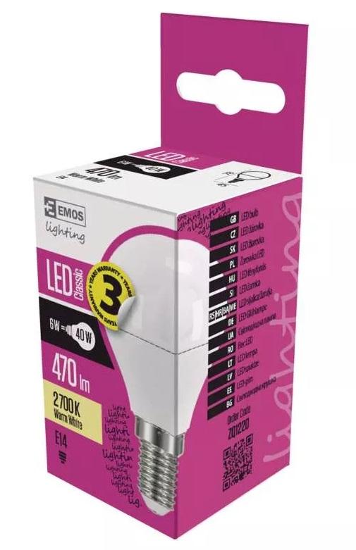 EMOS ZQ1220 LED žárovka Classic Mini Globe 6W - E14