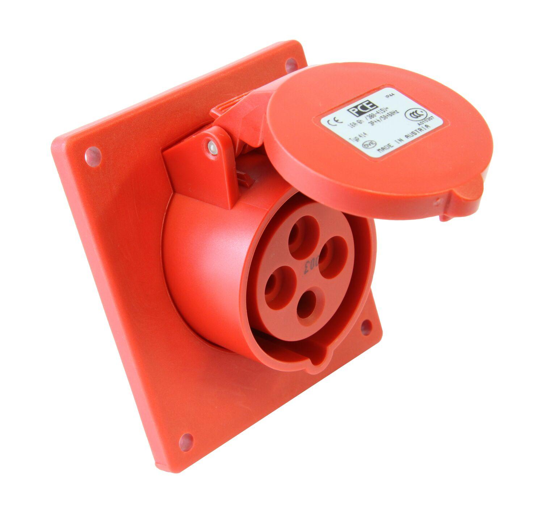 PCE 424-6 zásuvka vestavná 4-pólová, 32A / 400V, 6h, IP44, šikmá, příruba 80x97mm