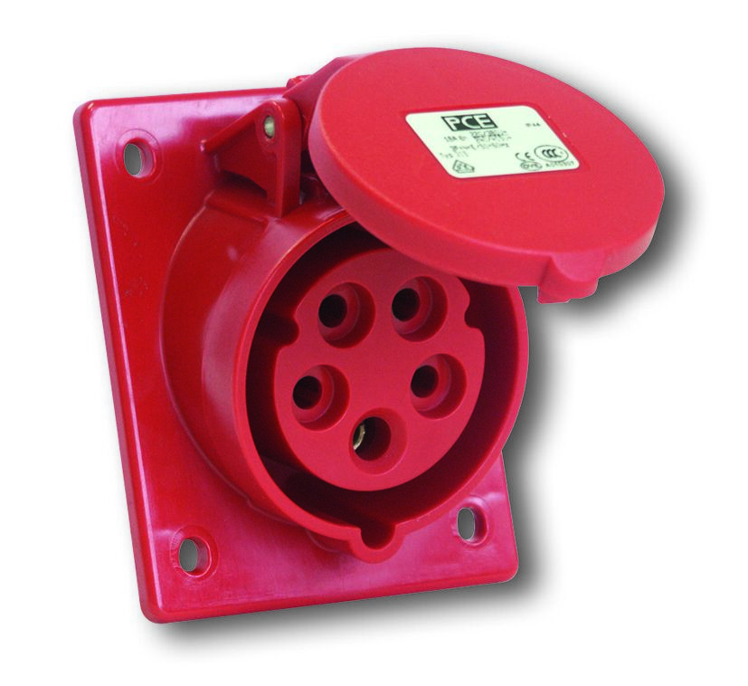 PCE 425-6 zásuvka vestavná 5-pólová, 32A / 400V, 6h, IP44, šikmá, příruba 80x97mm
