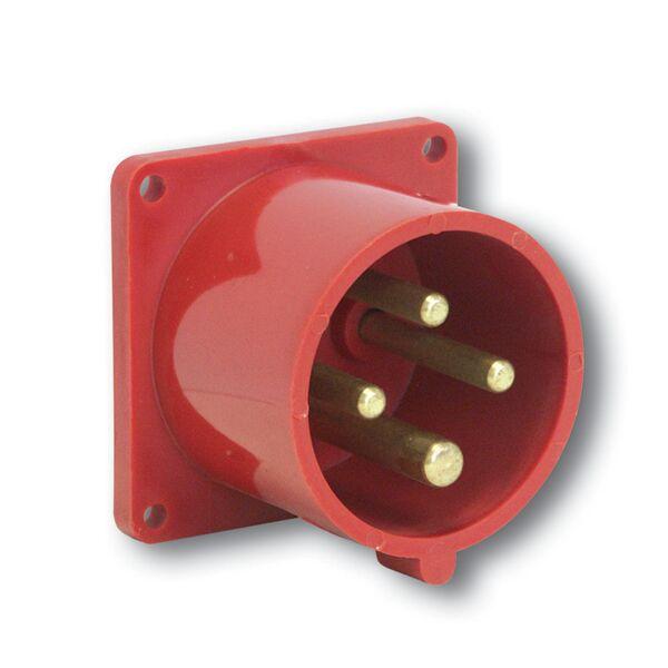 PCE 614-6 přívodka vestavná 4-pólová, 16A / 400V, 6h, IP44, přímá, příruba 70x70mm