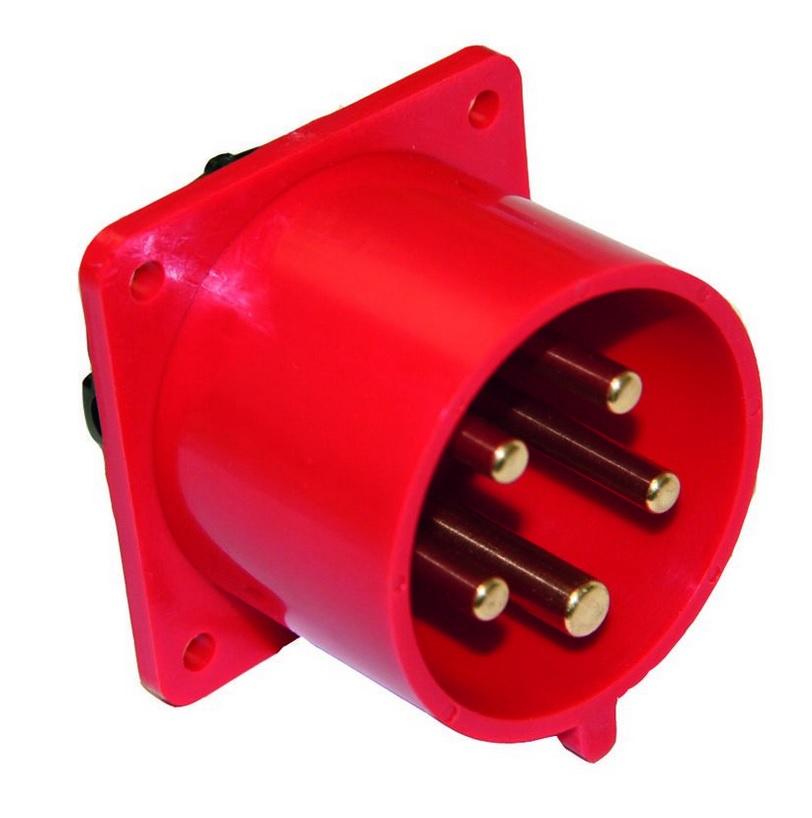 PCE 615-6 přívodka vestavná 5-pólová, 16A / 400V, 6h, IP44, přímá, příruba 70x70mm