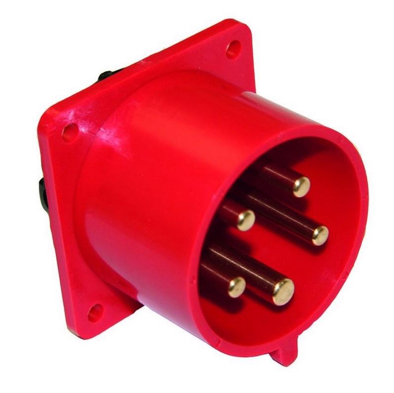 PCE 625-6 přívodka vestavná 5-pólová, 32A / 400V, 6h, IP44, přímá, příruba 70x70mm