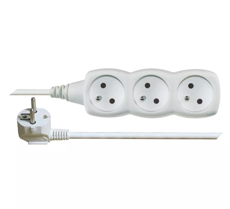 EMOS Prodlužovací kabel – 3 zásuvky, 5m, bílý
