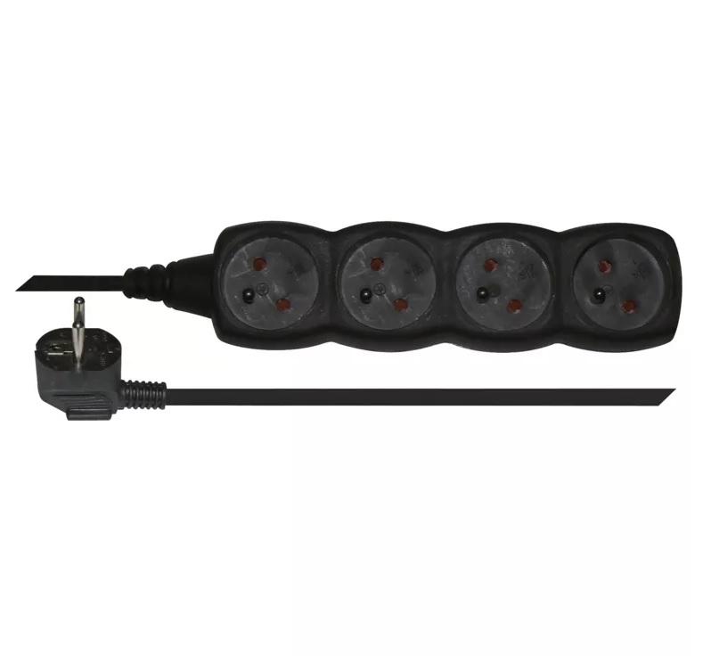 EMOS - Prodlužovací kabel – 4 zásuvky, 3m, černý