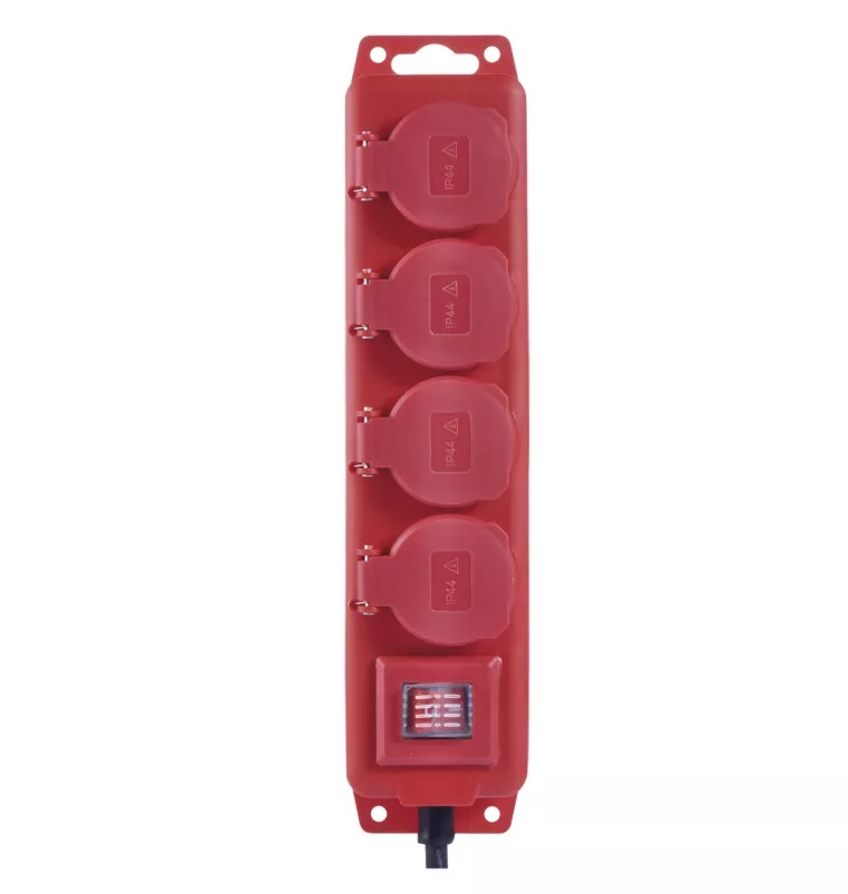 EMOS Prodlužovací kabel gumový – 4 zásuvky, 5m, 1,5mm2, IP44