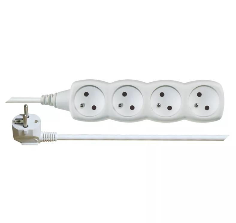 EMOS Prodlužovací kabel – 4 zásuvky, 5m, bílý