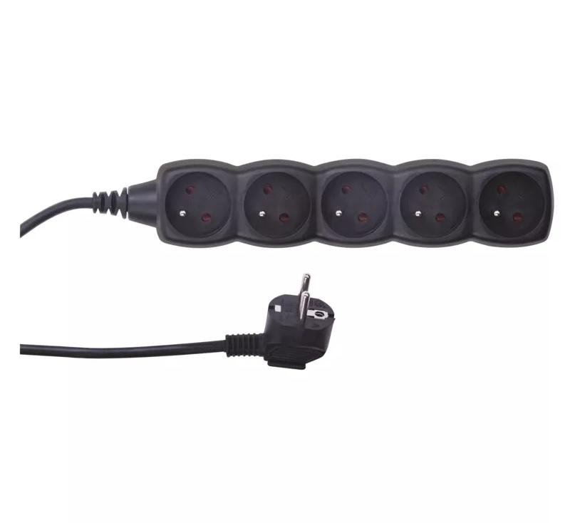 EMOS Prodlužovací kabel s vypínačem – 5 zásuvek, 3m, černý